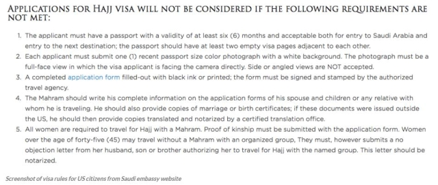 Screenshot of visa rules for US citizens from Saudi embassy website