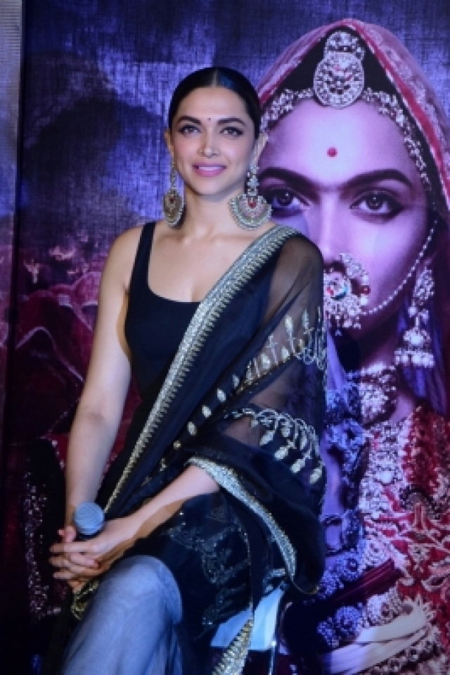 "Mumbai: Actress Deepika Padukone during the 3D trailer launch of her upcoming film ""Padmavati"" in Mumbai on Oct 31, 2017.(Photo: IANS)"