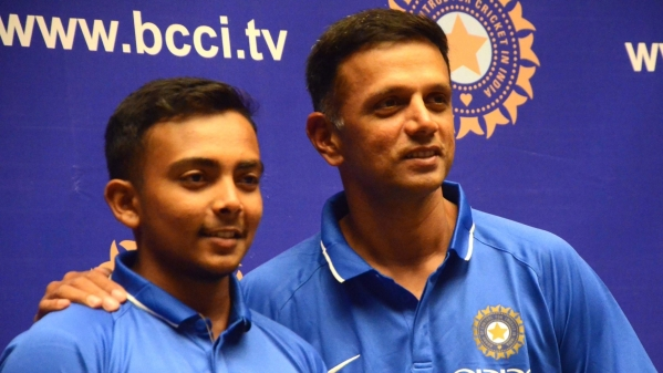 India U-19 captain Prithvi Shaw and coach Rahul Dravid.