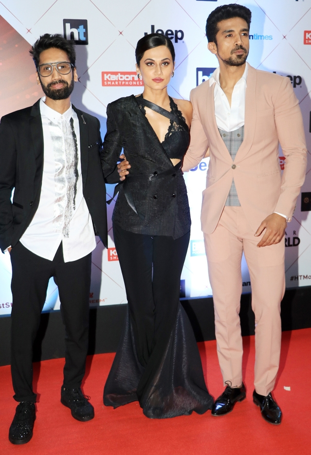 Abhilash Thapliyal with Taapsee Pannu and Saqib Saleem.