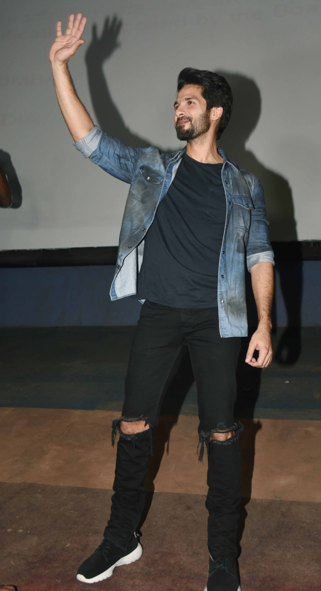 Shahid waves to his fans.