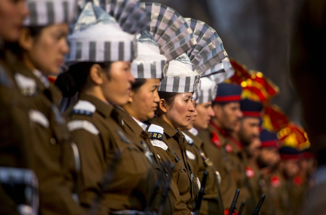 A contingent of Jammu and Kashmir police during the 69th Republic Day parade at Sher-e-Kashmir Cricket stadium in Srinagar on Friday, 26 January 2018.