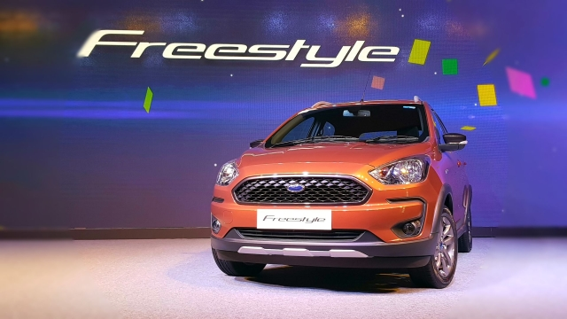 The Ford Freestyle sports subtle styling differences compared to the Figo hatchback.