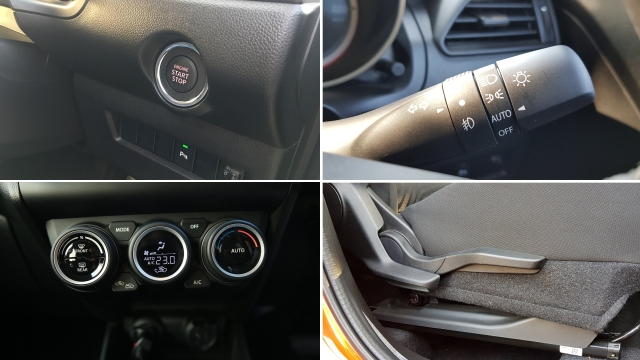 The Swift is quite feature rich. Clockwise from top, it comes with push-button start, automatic headlamps, height adjustable driver's seat and automatic climate control.