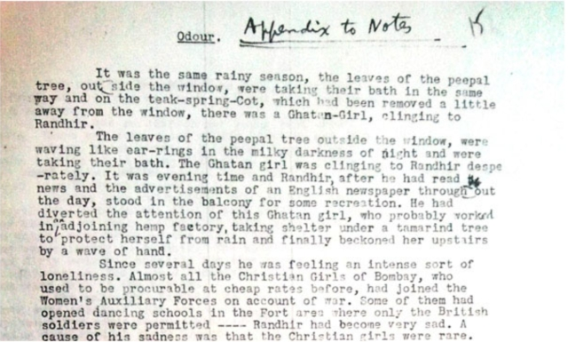A typewritten extract from Manto's short story <i>Bu.</i>