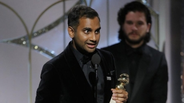 Aziz Ansari after receiving his Golden Globes award.