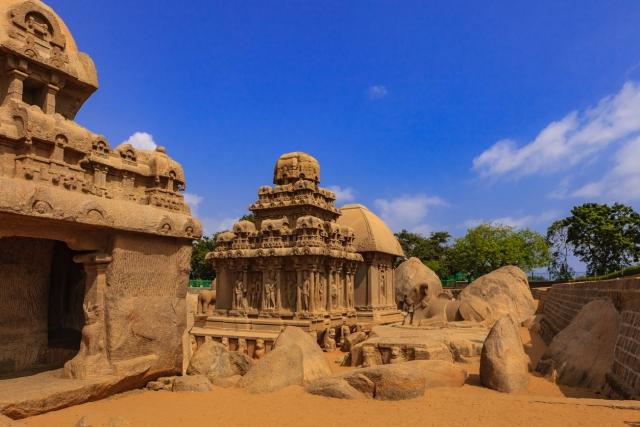 Mahabalipuram, India: 1,300 Year Old Pancha Rathas, sculpted in Granite.