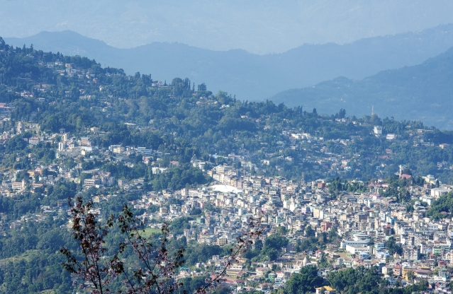 Himalayan foothill view of Kalimpong, West Bengal, northeast India.