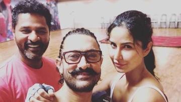 Aamir Khan, Katrina Kaif and Prabhu Deva behind the scenes of <i>Thugs of Hindostan.</i>