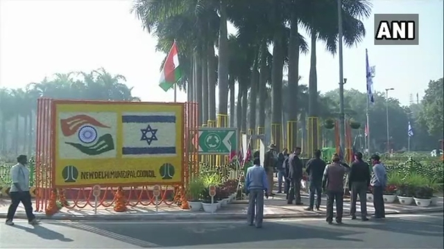 Visuals from Delhi's Teen Murti where PM Modi and PM Netanyahu will attend ceremony to mark the formal renaming of Teen Murti Chowk .