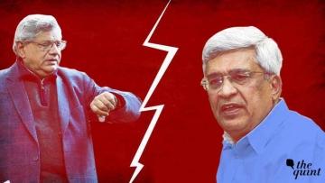 Prakash Karat (R) and Sitaram Yechury (L)