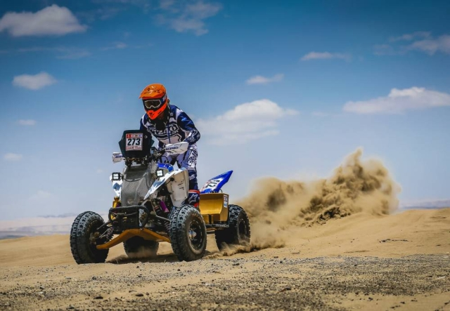 A Yamaha rider of rookie class in action during the first stage.
