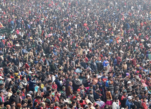 Crowd of spectators during 69th Republic Day Parade at Rajpath in New Delhi on Friday, 26 January 2018.