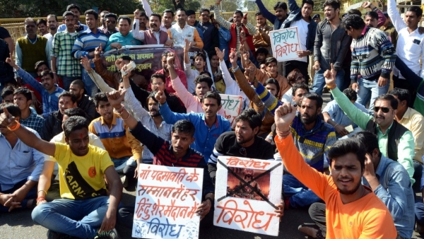 People protesting against  film 'Padmaavat' stage a demonstration in Bhopal on 24 January 2018.
