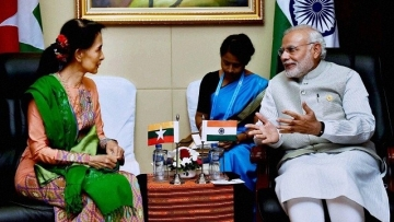 File photo of PM Narendra Modi with Myanmar State Counsellor Aung San Suu Kyi.