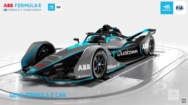 The new-look Formula E racing car gets a 'halo' to protect drivers.