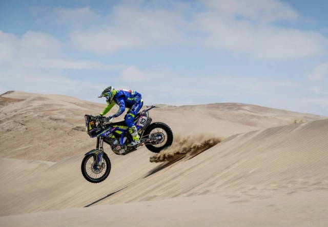 India's Aravind KP tackles a sand dune in the deserts of Peru during the fourth stage of the Dakar Rally.