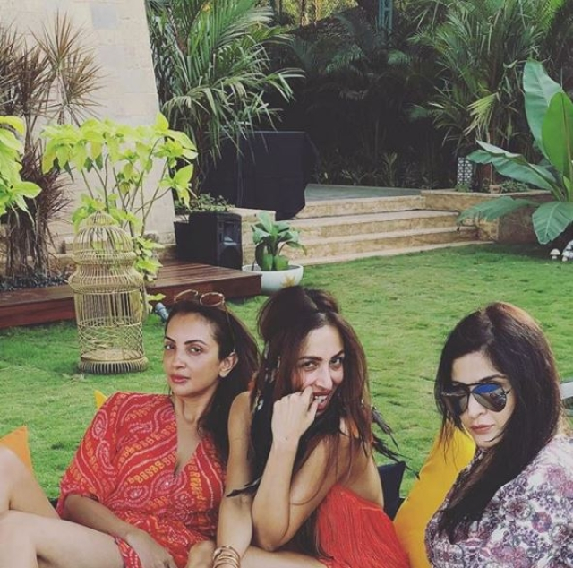 Malaika Arora poses with friends Seema Khan and Maheep Kapoor in Goa.