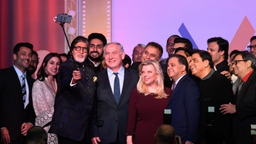 Israeli Prime Minister Benjamin Netanyahu takes a selfie with Bollywood personalities during Shalom Bollywood an evening to celebrate Israeli and Indian Bollywood relations during his visit in Mumbai on Thursday.