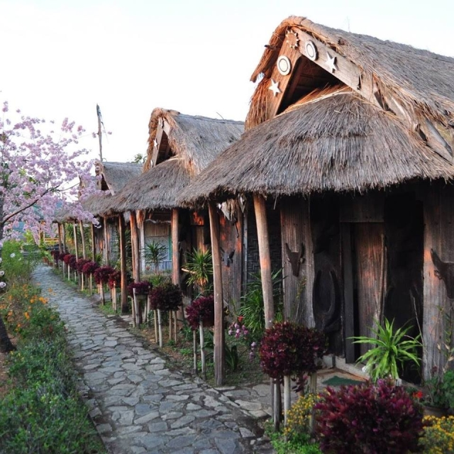 Small huts in Touphema Village, Nagaland.