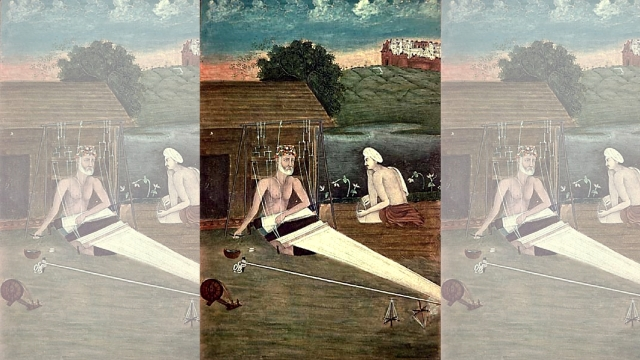 An 1825 CE painting depicting Bhagat Kabir weaving.