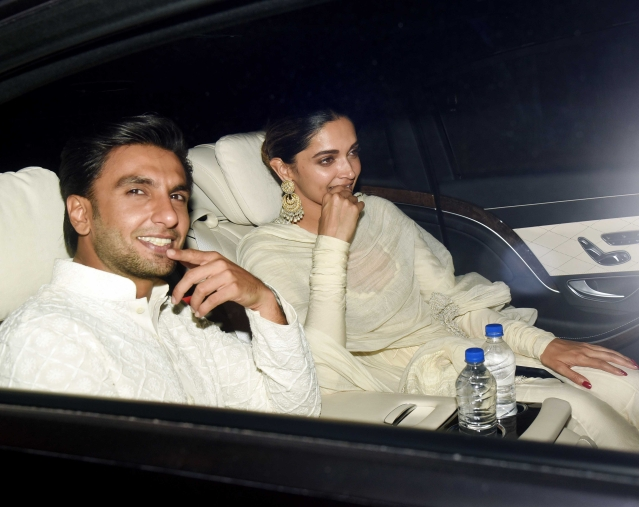 Ranveer Singh and Deepika Padukone arrive together at the event.