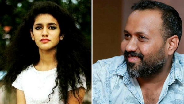 Malayalam actor Priya Prakash Varrier along with <i>Oru Adaar Love</i> director Omar Lulu.