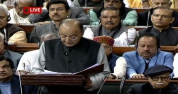 New Delhi: Union Finance Minister Arun Jaitley presenting the Union Budget 2018-19 at Parliament on Feb. 1, 2018. (Photo: Video Grab/IANS)