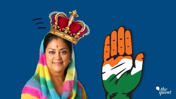 Image of Rajasthan CM Vasundhara Raje and the Congress party symbol used for representational purposes.