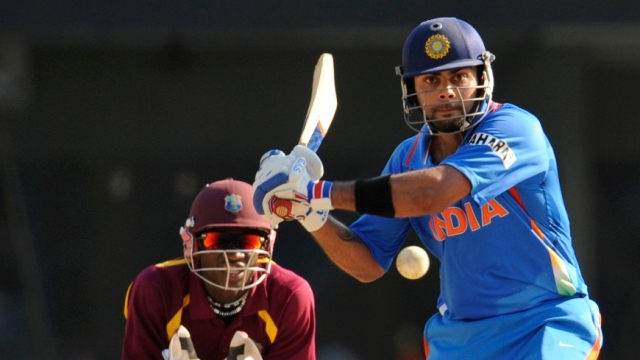 Virat Kohli in action during an ODI against the West Indies in 2011.