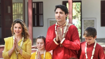 Canadian Prime Minister Justin Trudeau with his family during a visit to the Sabarmati Ashram in Ahmedabad on 19 February.