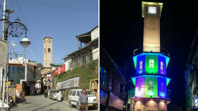 On the left, a photo of the clock tower as it used to be; on the right, the new one just constructed.