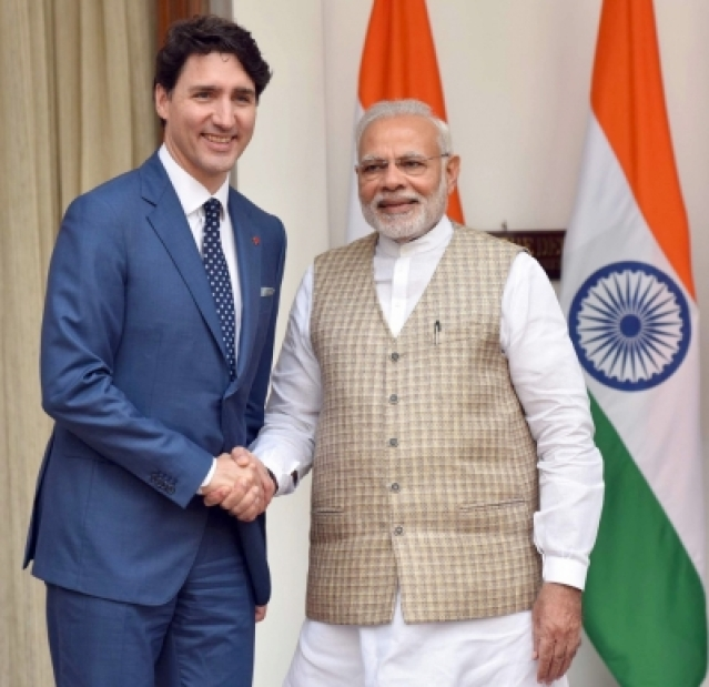 New Delhi: Prime Minister Narendra Modi with Canadian Prime Minister Justin Trudeau during a meeting at Hyderabad House, in New Delhi on Feb 23, 2018.