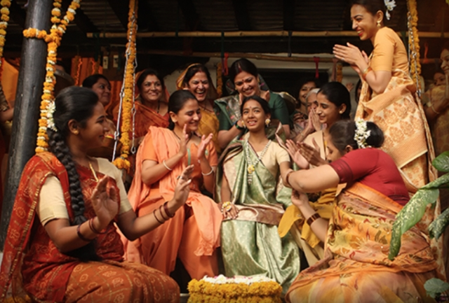 A scene where puberty rituals are underway (in Laxmi's village), celebrated only among the female members.