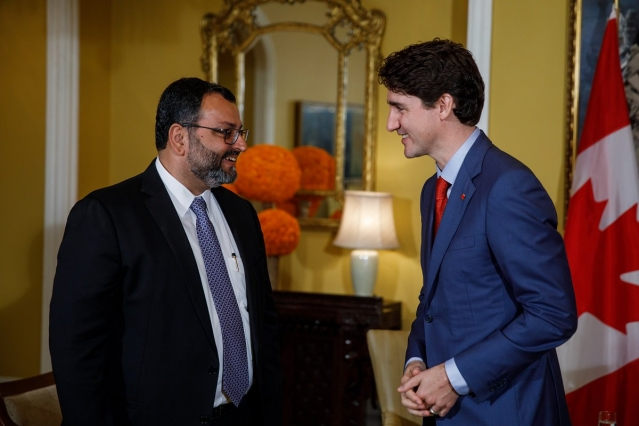 Prime Minister Justin Trudeau meets with Shapoorji Pallonji Group board member Cyrus Mistry