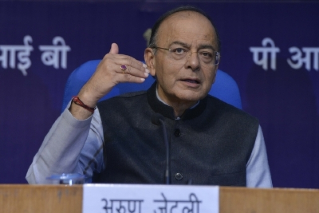 New Delhi: Finance Minister Arun Jaitley addresses a press conference after the presentation of Union Budget 2018-19, in New Delhi on Feb 1, 2018. (Photo: IANS)