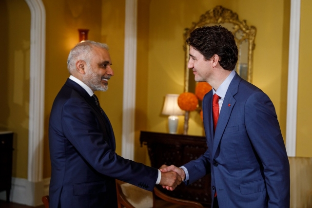 Prime Minister Justin Trudeau meets with the Co-Chairman of Jubilant Bhartia Group, Hari Bhartia