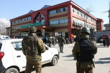 Srinagar: Security beefed up outside S.M.H.S hospital where militants carried out an attack, killing a policeman and escaping with a Pakistani terrorist; in Srinagar on Feb 6, 2018. According to police sources, the militants attacked a police party near the hospital while they were escorting the terrorist for treatment on Tuesday. (Photo: IANS)