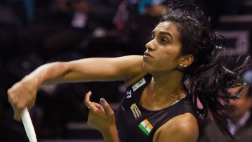 PV Sindhu in action.
