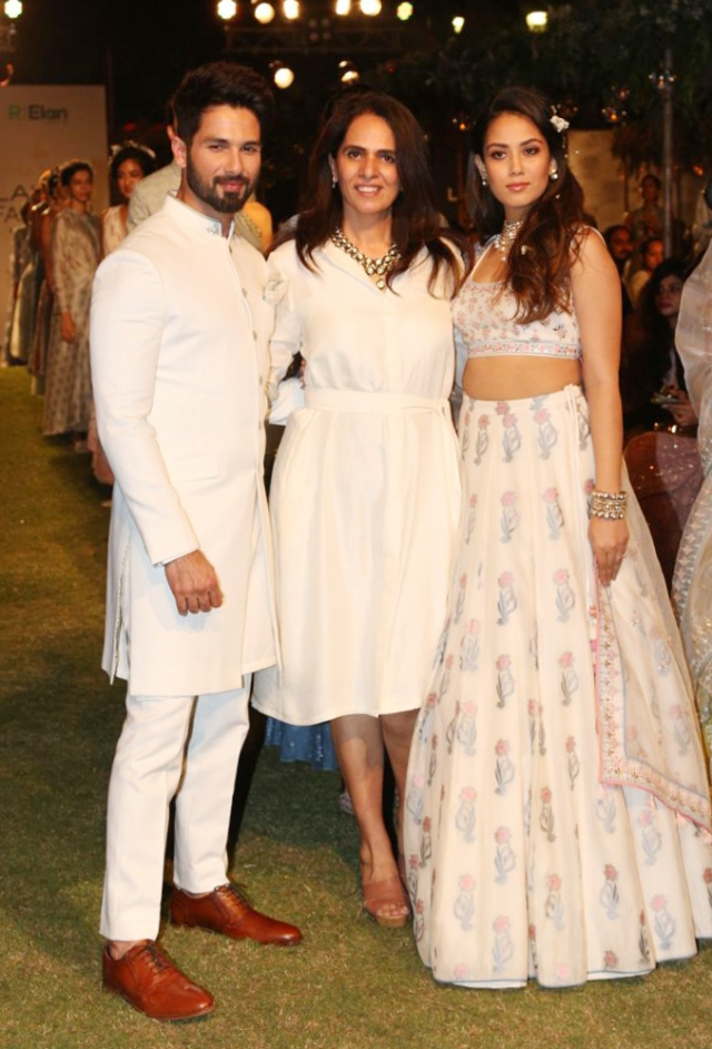 Shahid and Mira with Anita Dongre at LFW.