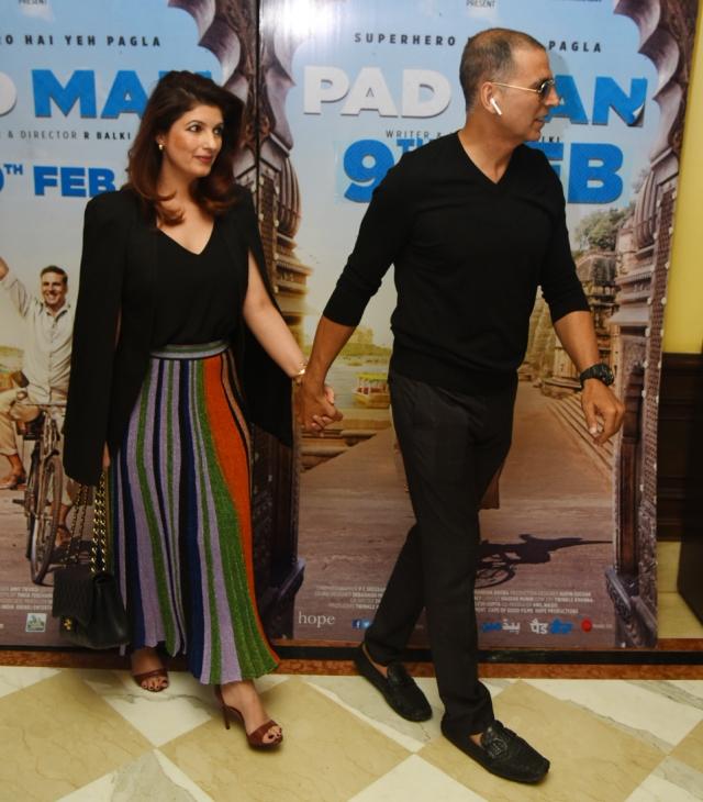 Akshay Kumar and Twinkle Khanna promote <i>PadMan.</i>