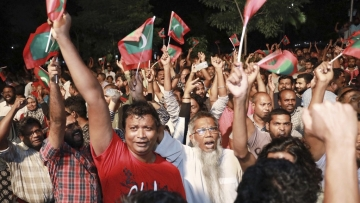 Protesters in capital city Male, Maldives, demand the release of opposition MPs in this photo taken on 2 February.