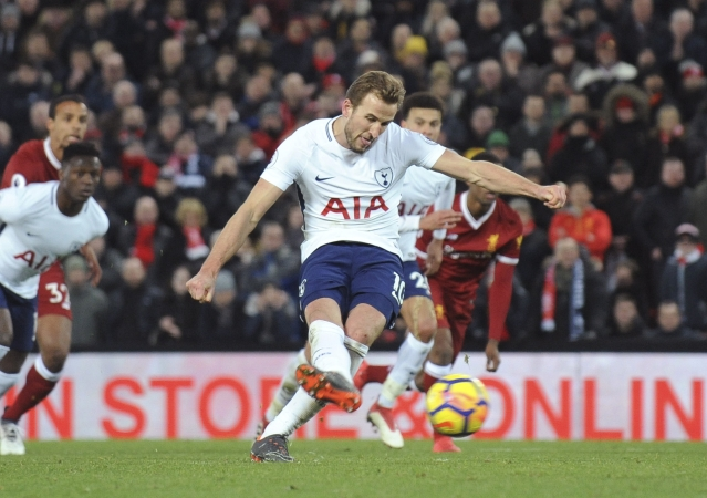 Tottenham's Harry Kane scores his side's second goal during the English Premier League.