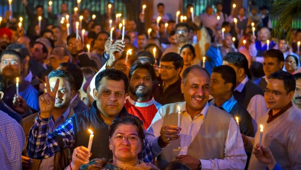 IAS officers and other officials take part in a candlelight protest over alleged manhandling of Delhi Chief Secretary Anshu Prakash