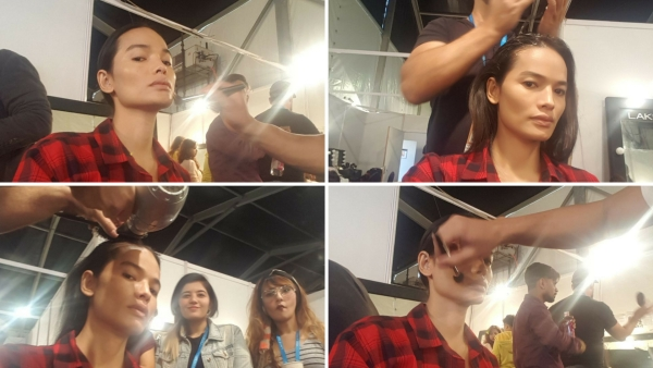 Anjali Lama gets ready for her show at the Lakme Fashion Week 2018.