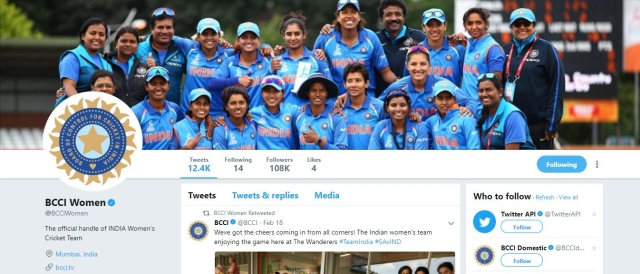 BCCI has a separate twitter handle for the women's team.