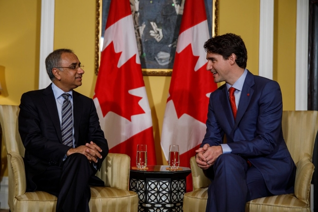 Prime Minister Justin Trudeau meets with Salil Parekh, CEO and Managing Director of business consulting and IT corporation Infosys