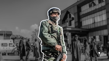 Image of an armed security personnel outside Srinagar's SMHS Hospital used for representational purposes.