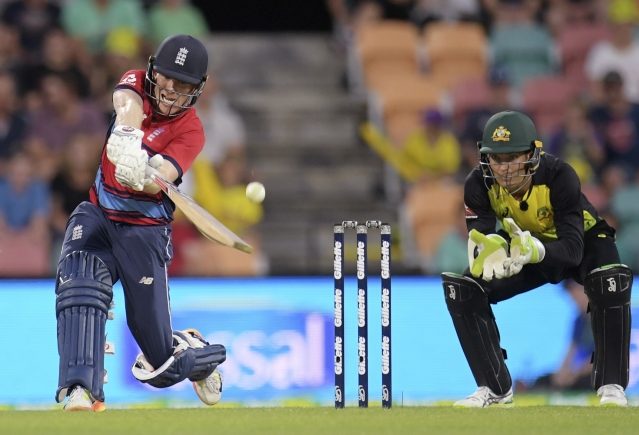 Eoin Morgan drives a ball during his innings.