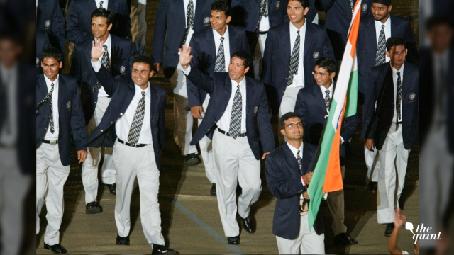 Captain Sourav Ganguly marching with the Indian tricolour during the 2003 World Cup opening ceremony.